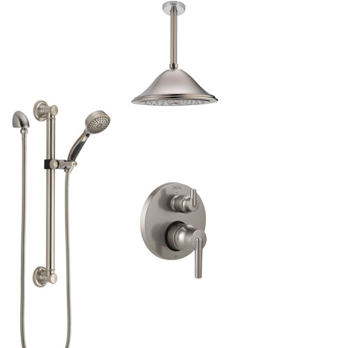 Delta Trinsic Stainless Steel Finish Shower System with Control Handle, Integrated Diverter, Ceiling Showerhead, and Grab Bar Hand Shower SS24859SS7