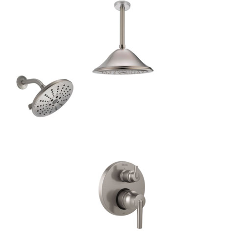 Delta Trinsic Stainless Steel Finish Shower System with Control Handle, Integrated Diverter, Showerhead, and Ceiling Mount Showerhead SS24859SS8