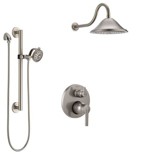 Delta Trinsic Stainless Steel Finish Shower System with Control Handle, Integrated Diverter, Showerhead, and Hand Shower with Grab Bar SS24859SS9