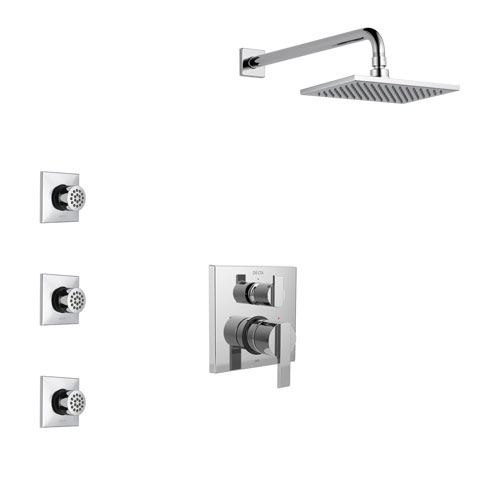 Delta Ara Chrome Finish Shower System with Control Handle, Integrated 3-Setting Diverter, Showerhead, and 3 Body Sprays SS2486711