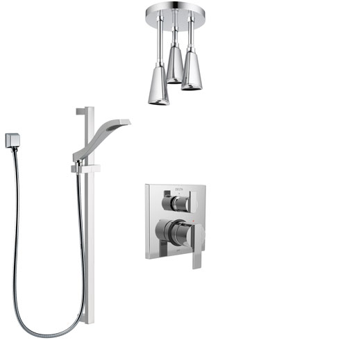 Delta Ara Chrome Finish Shower System with Control Handle, Integrated Diverter, Ceiling Mount Showerhead, and Hand Shower with Slidebar SS248676