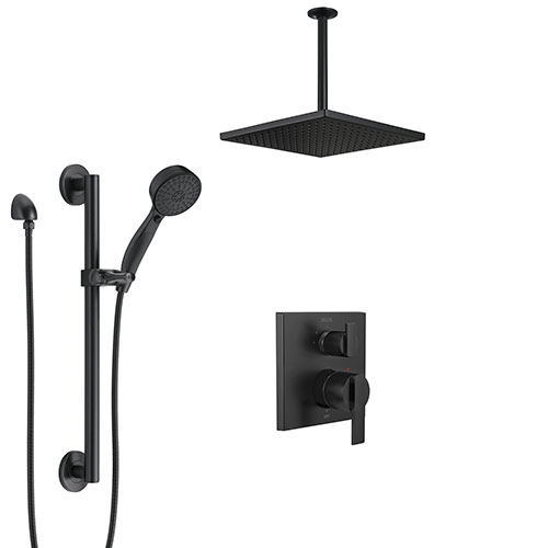 Delta Ara Matte Black Modern Shower System with Integrated Diverter with Grab Bar Hand Sprayer and Large Square Ceiling Mount Showerhead SS24867BL1