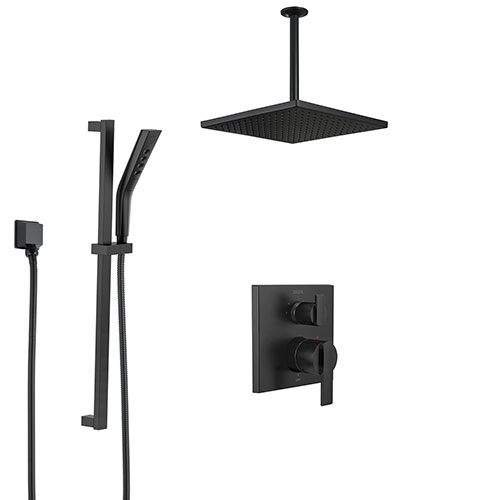 Delta Ara Matte Black Modern Shower System with Integrated Diverter with Hand Sprayer and Slide Bar + Large Square Ceiling Mount Showerhead SS24867BL2