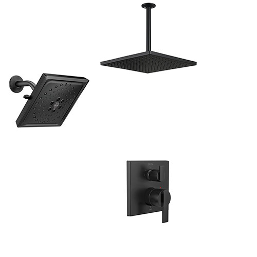 Delta Ara Matte Black Integrated Diverter Shower System with Ceiling Mounted Large Square Rain Showerhead and Multi-Setting Wall Showerhead SS24867BL7