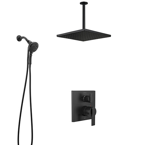 Delta Ara Matte Black Finish Shower System with Integrated Diverter, Detachable SureDock Hand Shower, and Large Ceiling Mounted Rain Head SS24867BL8