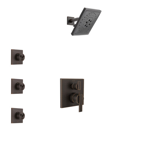 Delta Ara Venetian Bronze Finish Shower System with Control Handle, Integrated 3-Setting Diverter, Showerhead, and 3 Body Sprays SS24867RB11