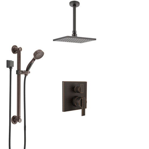 Delta Ara Venetian Bronze Shower System with Control Handle, Integrated Diverter, Ceiling Mount Showerhead, and Hand Shower with Grab Bar SS24867RB1