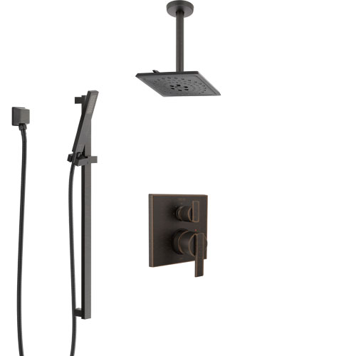 Delta Ara Venetian Bronze Shower System with Control Handle, Integrated Diverter, Ceiling Mount Showerhead, and Hand Shower with Slidebar SS24867RB5