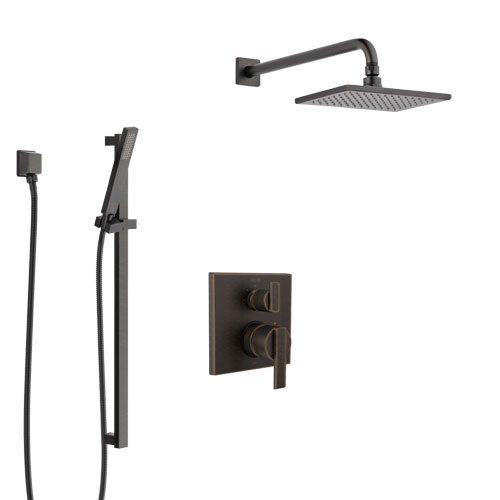 Delta Ara Venetian Bronze Shower System with Control Handle, Integrated 3-Setting Diverter, Showerhead, and Hand Shower with Slidebar SS24867RB7