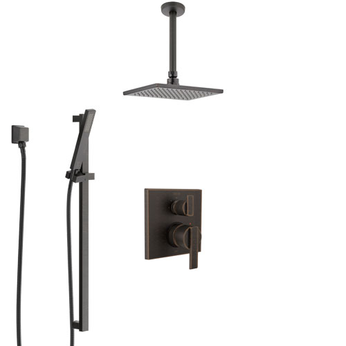 Delta Ara Venetian Bronze Shower System with Control Handle, Integrated Diverter, Ceiling Mount Showerhead, and Hand Shower with Slidebar SS24867RB8