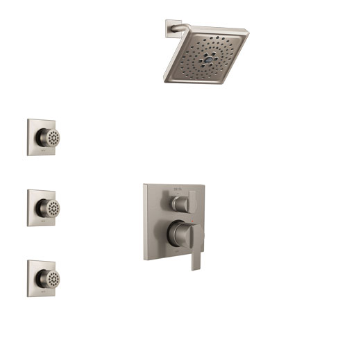 Delta Ara Stainless Steel Finish Shower System with Control Handle, Integrated 3-Setting Diverter, Showerhead, and 3 Body Sprays SS24867SS12