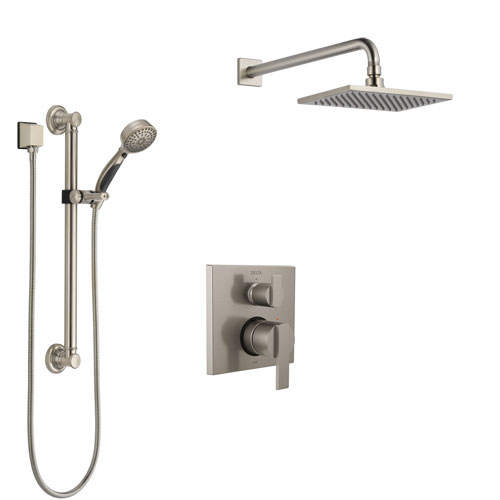 Delta Ara Stainless Steel Finish Shower System with Control Handle, Integrated Diverter, Showerhead, and Hand Shower with Grab Bar SS24867SS1