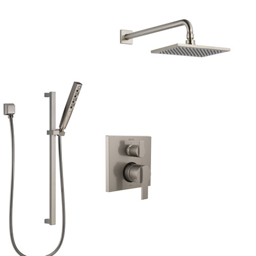 Delta Ara Stainless Steel Finish Shower System with Control Handle, Integrated Diverter, Showerhead, and Hand Shower with Slidebar SS24867SS8