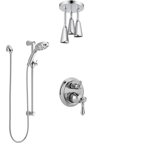 Delta Cassidy Chrome Finish Shower System with Control Handle, Integrated Diverter, Ceiling Mount Showerhead, and Temp2O Hand Shower SS2489710