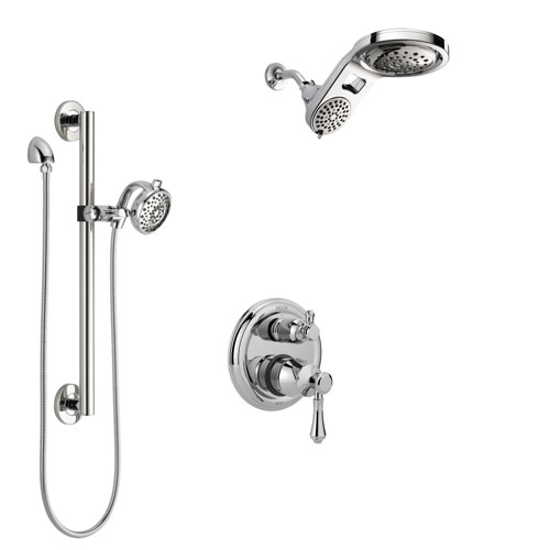 Delta Cassidy Chrome Finish Shower System with Control Handle, Integrated 3-Setting Diverter, Dual Showerhead, and Hand Shower with Grab Bar SS2489712