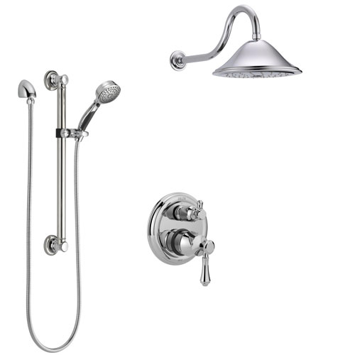 Delta Cassidy Chrome Finish Shower System with Control Handle, Integrated 3-Setting Diverter, Showerhead, and Hand Shower with Grab Bar SS248971