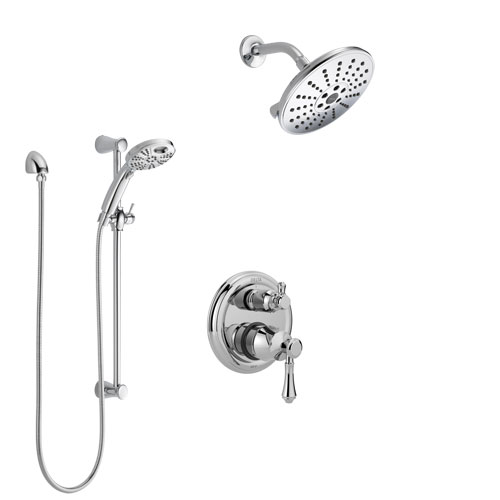 Delta Cassidy Chrome Finish Shower System with Control Handle, Integrated 3-Setting Diverter, Showerhead, & Temp2O Hand Shower with Slidebar SS248974