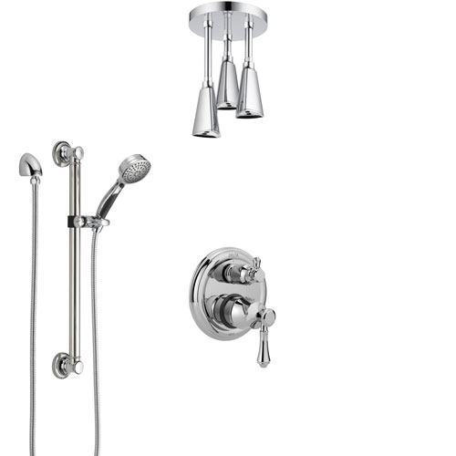 Delta Cassidy Chrome Finish Shower System with Control Handle, Integrated Diverter, Ceiling Mount Showerhead, and Hand Shower with Grab Bar SS248979