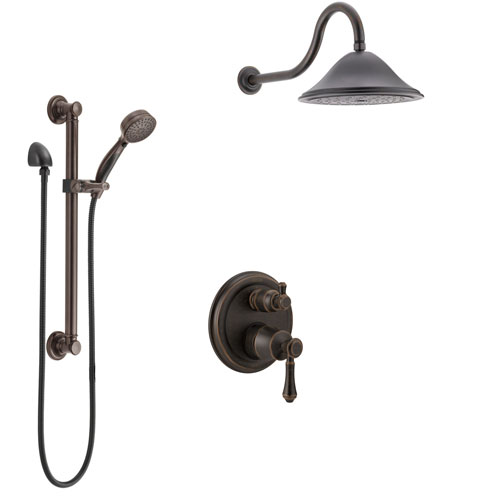 Delta Cassidy Venetian Bronze Shower System with Control Handle, Integrated 3-Setting Diverter, Showerhead, and Hand Shower with Grab Bar SS24897RB12