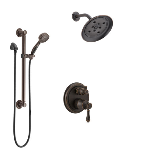 Delta Cassidy Venetian Bronze Shower System with Control Handle, Integrated 3-Setting Diverter, Showerhead, and Hand Shower with Grab Bar SS24897RB2