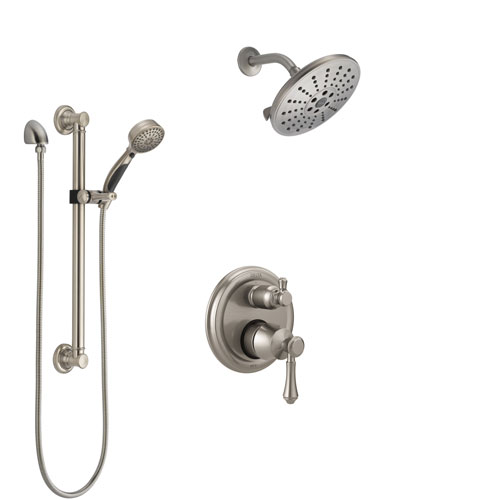 Delta Cassidy Stainless Steel Finish Shower System with Control Handle, Integrated Diverter, Showerhead, and Hand Shower with Grab Bar SS24897SS12