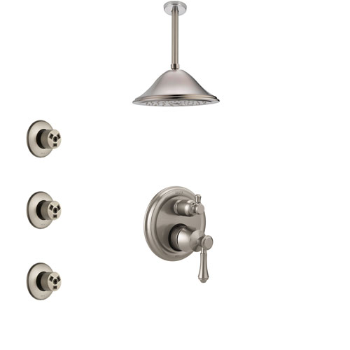 Delta Cassidy Stainless Steel Finish Shower System with Control Handle, Integrated Diverter, Ceiling Mount Showerhead, and 3 Body Sprays SS24897SS9
