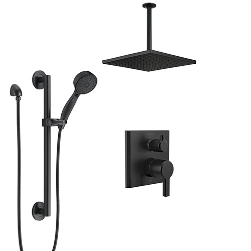 Delta Pivotal Matte Black Finish Integrated Diverter Shower System with Square Ceiling Mount Rain Showerhead and Hand Shower with Grab Bar SS24899BL1