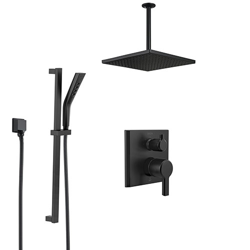 Delta Pivotal Matte Black Finish Integrated Diverter Shower System with Square Ceiling Mount Rain Showerhead and Hand Shower with Slide Bar SS24899BL2