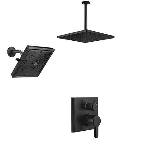 Delta Pivotal Matte Black Multi-Spray Shower System with Integrated Diverter, Large Square Ceiling Rain Showerhead and Wall Showerhead SS24899BL7