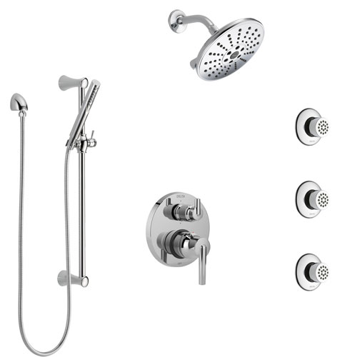Delta Trinsic Chrome Finish Shower System with Control Handle, Integrated 6-Setting Diverter, Showerhead, 3 Body Sprays, and Hand Shower SS249591