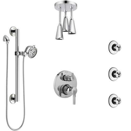 Delta Trinsic Chrome Shower System with Control Handle, Integrated Diverter, Ceiling Showerhead, 3 Body Sprays, and Grab Bar Hand Shower SS249596