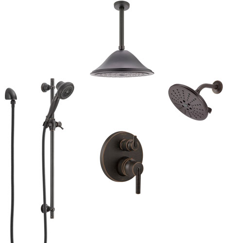 Delta Trinsic Venetian Bronze Shower System with Control Handle, Integrated Diverter, Showerhead, Ceiling Mount Showerhead, and Hand Shower SS24959RB6
