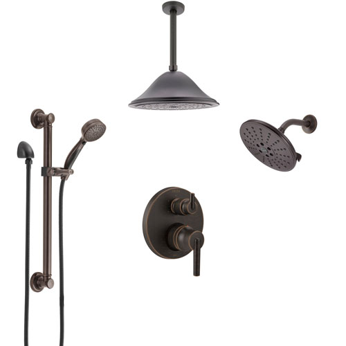 Delta Trinsic Venetian Bronze Integrated Diverter Shower System Control Handle, Showerhead, Ceiling Showerhead, and Grab Bar Hand Shower SS24959RB7