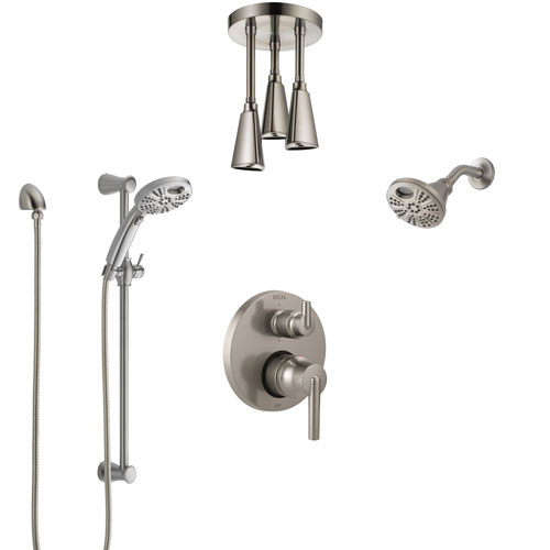 Delta Trinsic Stainless Steel Finish Integrated Diverter Shower System Control, Temp2O Showerhead, Hand Shower, and Ceiling Showerhead SS24959SS1