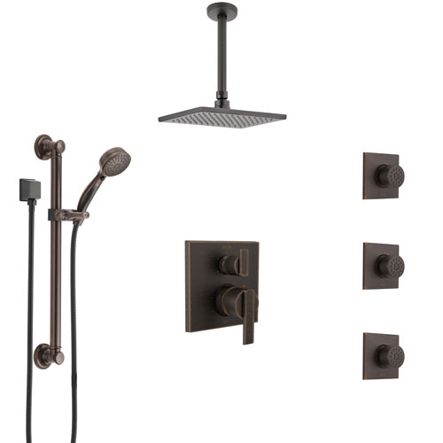 Delta Ara Venetian Bronze Integrated Diverter Shower System Control Handle, Ceiling Showerhead, 3 Body Sprays, and Grab Bar Hand Shower SS24967RB1