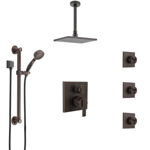 Delta Ara Venetian Bronze Integrated Diverter Shower System Control Handle, Ceiling Showerhead, 3 Body Sprays, and Grab Bar Hand Shower SS24967RB2