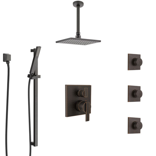Delta Ara Venetian Bronze Shower System with Control Handle, Integrated Diverter, Ceiling Mount Showerhead, 3 Body Sprays, and Hand Shower SS24967RB4