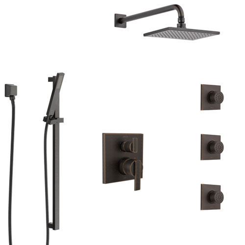 Delta Ara Venetian Bronze Shower System with Control Handle, Integrated 6-Setting Diverter, Showerhead, 3 Body Sprays, and Hand Shower SS24967RB5