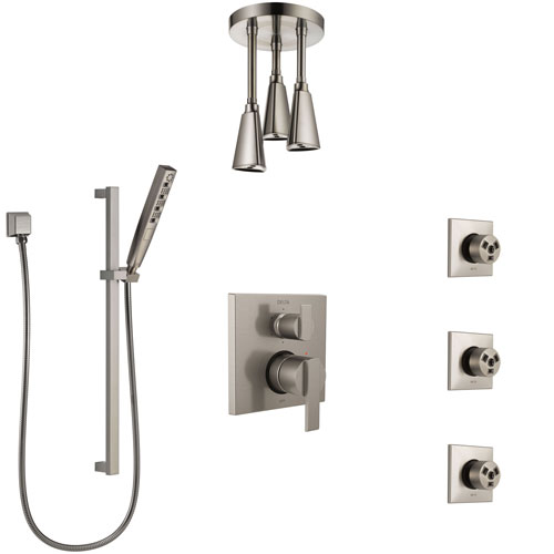 Delta Ara Stainless Steel Finish Integrated Diverter Shower System Control Handle, Ceiling Showerhead, 3 Body Sprays, and Hand Shower SS24967SS11
