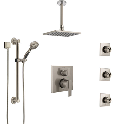 Delta Ara Stainless Steel Finish Integrated Diverter Shower System Control Handle, Ceiling Showerhead, 3 Body Sprays, Grab Bar Hand Spray SS24967SS2
