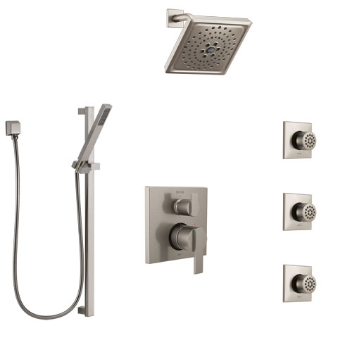 Delta Ara Stainless Steel Finish Shower System with Control Handle, Integrated Diverter, Showerhead, 3 Body Sprays, and Hand Shower SS24967SS6