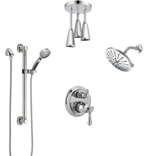 Delta Cassidy Chrome Shower System with Control Handle, Integrated Diverter, Showerhead, Ceiling Mount Showerhead, and Grab Bar Hand Shower SS2499711