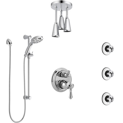 Delta Cassidy Chrome Shower System with Control Handle, Integrated Diverter, Ceiling Mount Showerhead, 3 Body Sprays, and Temp2O Hand Shower SS249979
