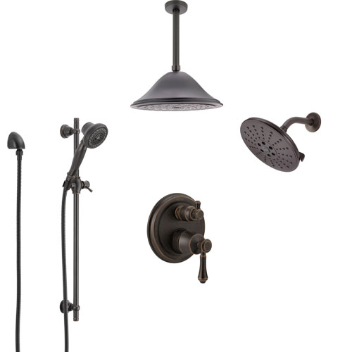 Delta Cassidy Venetian Bronze Shower System with Control Handle, Integrated Diverter, Showerhead, Ceiling Showerhead, and Hand Shower SS24997RB10