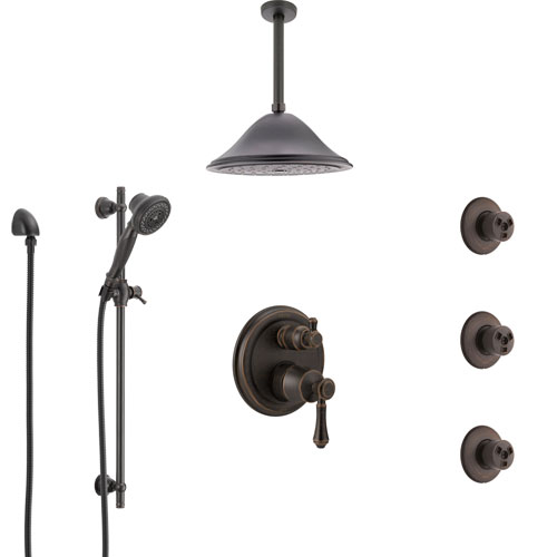 Delta Cassidy Venetian Bronze Shower System with Control Handle, Integrated Diverter, Ceiling Showerhead, 3 Body Sprays, and Hand Shower SS24997RB11