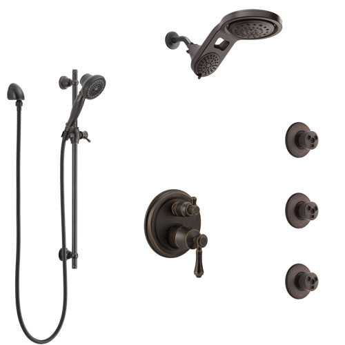 Delta Cassidy Venetian Bronze Shower System with Control Handle, Integrated Diverter, Dual Showerhead, 3 Body Sprays, and Hand Shower SS24997RB12