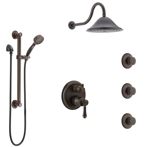 Delta Cassidy Venetian Bronze Shower System with Control Handle, Integrated Diverter, Showerhead, 3 Body Sprays, and Grab Bar Hand Shower SS24997RB3