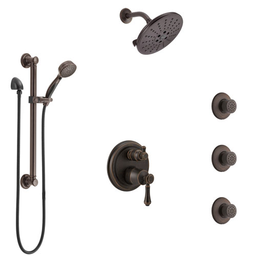 Delta Cassidy Venetian Bronze Shower System with Control Handle, Integrated Diverter, Showerhead, 3 Body Sprays, and Grab Bar Hand Shower SS24997RB4