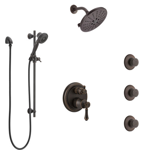 Delta Cassidy Venetian Bronze Shower System with Control Handle, Integrated 6-Setting Diverter, Showerhead, 3 Body Sprays, and Hand Shower SS24997RB6