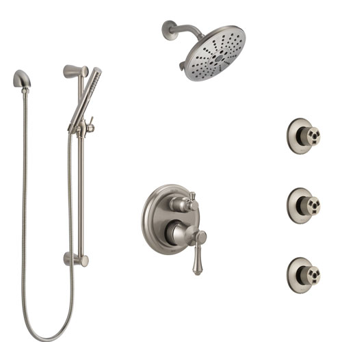 Delta Cassidy Stainless Steel Finish Shower System with Control Handle, Integrated Diverter, Showerhead, 3 Body Sprays, and Hand Shower SS24997SS1